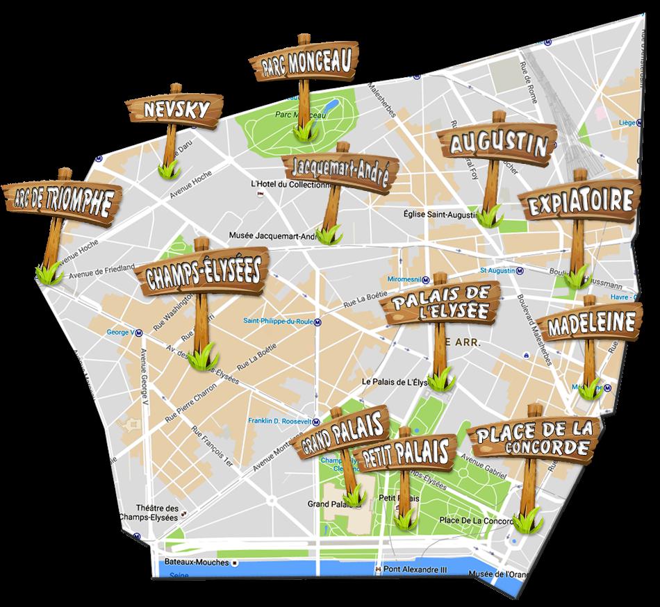 parijsmijnstad - bezienswaardigheden 8e arrondissement van Parijs