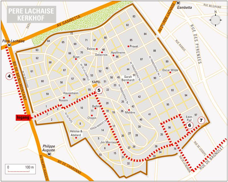 parijsmijnstad - plattegrond Pere Lachaise Parijs