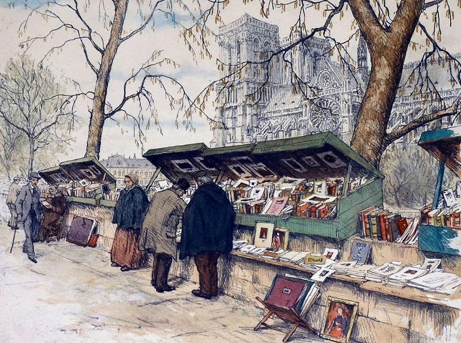 tekening Bouquiniste Parijs