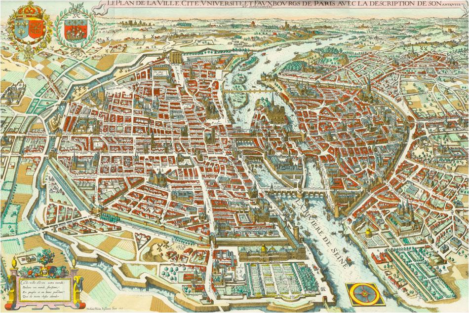 kaart oud Parijs 1615